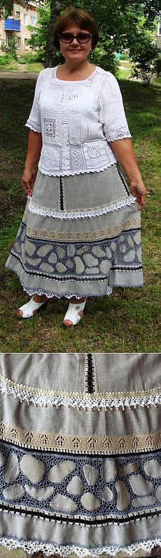 Юбка от Натальи Жиленковой (ткань + вязание)