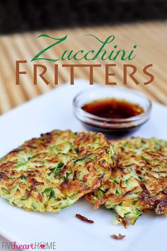 Zucchini Fritters with Asian Dipping Sauce | FiveHeartHome.com