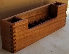 Easy storage and quick access for knives, scissors,pizza cutters, potato peelers, etc. This would also work well as an organizer for the bathroom or office. Kitchen Storage Boxes, Utensil Storage, Desk Organization, Organizing, Beer Caddy, Railroad Ties, Box Joints, Pencil Cup, Pallet Designs