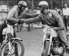 Rolf Tibblin congratulating Jeff Smith on winning the 1964 World Championship