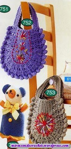 CTejidas [Crochet y Dos Agujas]: Patrón #391: Bolsos a Crochet