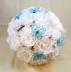 Quinceanera Bouquet, Bridal Bouquet, Wedding Bouquet, Butterfly Bouquet, White Bouquet, Turquoise Bouquet, Princess Bouquet, Alternative  Let us create a bouquet for you th... #quincenera