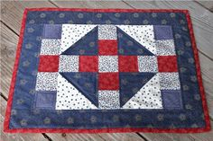 SALE 4 Quilted Placemats - Americana Red.White.Blue. $48.00, via Etsy.