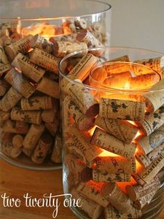 Cork Candle Holder Wine Cork Candle Holder - totally have the corks to do this. :)Wine Cork Candle Holder - totally have the corks to do this. Wine Cork Candle, Wine Cork Wreath, Wine Bottle Candles, Bottle Lights, Hurricane Vase, Unique Christmas Decorations, Diy Christmas, Christmas Candles, Italian Party Decorations