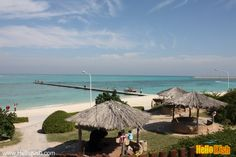 Kish Island, The Marjan Coast park, the huts and the while coral shore