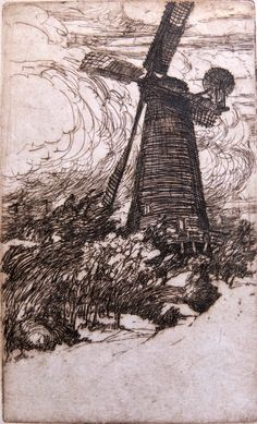 """John William Winkler, """"The Windmill in Golden Gate Park"""""""