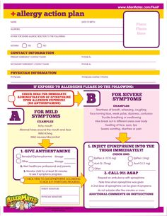 Printable fill-in form for how to emergency medicate kids with life threatening allergies.