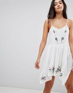 30e80238be17 ASOS DESIGN Floral Cross Stitch Embroidered Strappy Beach Sundress Boho  Fashion Fall