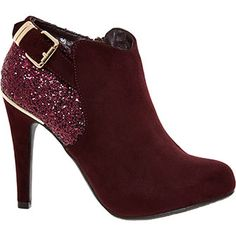 Plum Glitter Ankle Boots