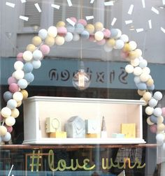 Our beautiful shop window display for Brighton gay pride with our jewellery and pastel lights. Online or in store www.poshtottydesigns.com #lovewins