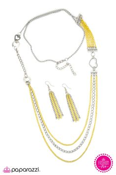Head Over Heels Necklace with Earrings - $5.00  Strands of yellow and silver chain drape between silver rings and hearts, creating a playful design. Features an adjustable clasp closure.   www.paparazziaccessories.com/29566