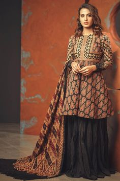 2 Piece Printed Suit With Printed Lawn Dupatta - Alkaram Studio New Dress Design Indian, Indian Dress Up, Pakistani Fancy Dresses, Pakistani Fashion Casual, Pakistani Dress Design, Frock Fashion, Suit Fashion, Girl Fashion, Fashion Dresses