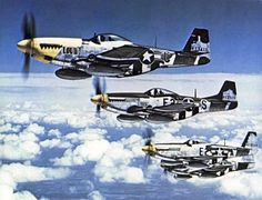 P-51 Mustangs of the 375th Fighter Squadron, Eighth Air Force mid-1944. [Via]