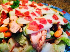 Food Fitness by Paige: Blue Cheese Salmon with Pear and Bacon Salad