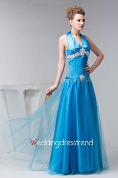 Cheap Cute A-Line Halter Floor-Length Evening Dress - Shop Online for Evening Dresses at Low Prices