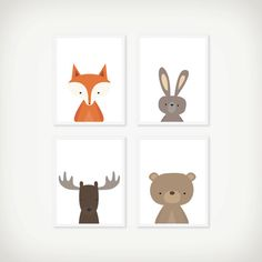 Woodland Headshot Art Print Set - Nursery Art - Children's Wall Art - Set of 4 Prints