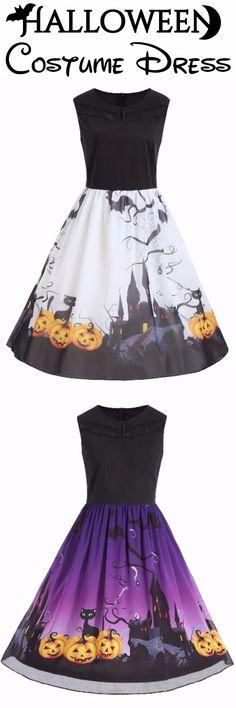 Happy Halloween Costume Dress | $12.45 | Plus Size Sleeveless Halloween Pumpkin Print Dress | Sammydress.com