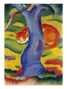 Cat Behind a Tree, 1910/11 Giclée-tryk af Franz Marc på AllPosters.dk