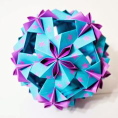 Dulcinea Kusudama (design by Uniya Filonova) folded by Jennifer Shafley from double-sided origami paper.  www.willfoldforpaper.com