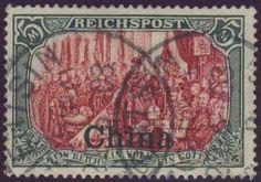 German Colonies, DP-China 1901, 5 Mk., Typ III, feinstes Prachtstück mit Stempeln von TIENTSIN, Altsignatur (gest., Mi.-Nr.27 III/Mi.EUR 400,--). Price Estimate (8/2016): 120 EUR.