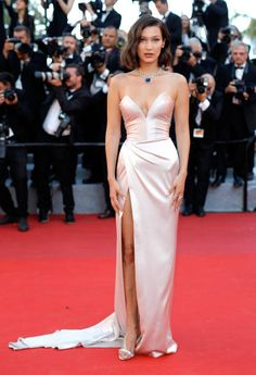 Bella Hadid in Alexandre Vauthier attends the 'Ismael's Ghosts ' screening and Opening Gala during the 70th annual Cannes Film Festival at Palais des Festivals on May 17...