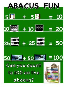 "100th Day of School Counting poster in fun add on the abacus design: ""Abacus Fun"""