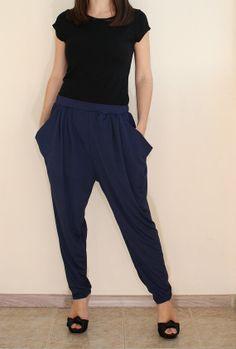 Women Harem Pants Navy Blue Yoga Pants Loose fit by KSclothing