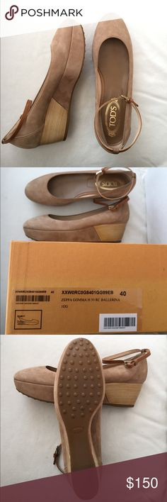 Tod's of London; nude, suede ballerina platforms Gorgeous tan/nude suede ballerina platforms. Brand new - NEVER WORN. The platforms have light wood in the heel and the shoes have a light brown ankle strap. Super comfy and perfect for everyday or dress up. Original box and bag included. Tod's Shoes Platforms