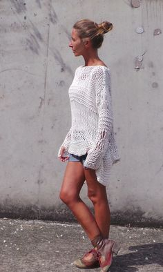 white sweater ivory sweater loose knit Cotton Sweater by ileaiye