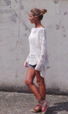 ivory sweater / Loose knit sweater / white sweater / loose knit Cotton Sweater / asymmetrical hemline / women's clothing