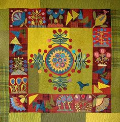 Sue Spargo wool quilt.  Not really into wool or her folksy quilts but I do like the colors!