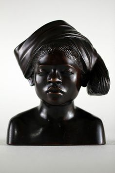 Indonesian Bali Carved Wood Sculpture Woman Bust A. FATIMAH