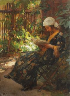 Ipolit Strâmbu (Romanian, Summer Afternoon an art collection. Reading Art, Woman Reading, Reading Library, Reading Time, Reading Room, World Of Books, Art Database, Love Art, Impressionism