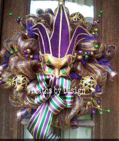 Mardi Gras Wreath by WreathsbyDesign1 on Etsy, $85.00