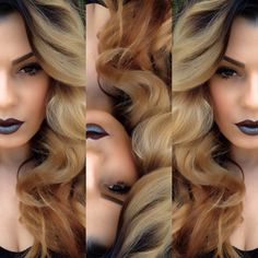 I AM SOOOOOOO IN LOVE! HAIR + Fixed On Drama lipstick with Blue Brown pigment on top  by @ourfazinali