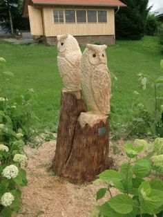 holzeule holz eule eulenbank owlbench kettensäge wood carver, Garten und erstellen