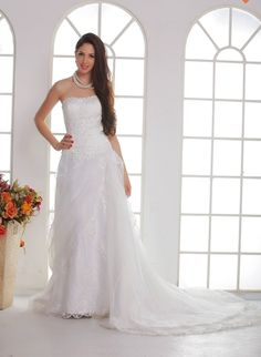 Fabulous A-line Strapless Floor-length Sweep Train Lace Dasha's Beach Wedding Dress