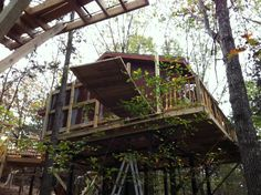 Belle Arbres Treehouse Cabin. Construction Of The Cable Bridge Leading From  The Back Deck To