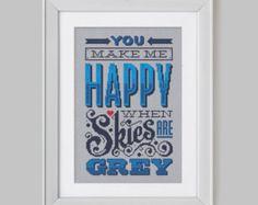 Happy when Skies are Grey - Cross Stitch Pattern (Digital Format - PDF)