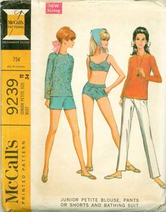 McCall's 9239 - Blouse, Pants, Boy Shorts, and Bathing Suit