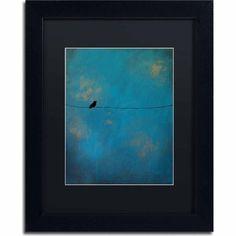Trademark Fine Art Lone Bird Blue Canvas Art by Nicole Dietz, Black Matte, Black Frame, Archival Paper, Size: 11 x 14