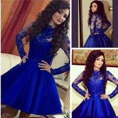 Short Satin and Lace Prom Dresses with Long Sleeves pst0009