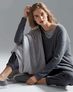Ribbed V-Neck Sweater and Soho Track Pant   Lafayette 148 New York