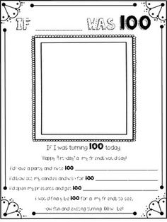 This fun activity will make a fabulous addition to your 100 days of school celebration :) Use the awesome aging app (directions included) or just have your kiddos draw a picture of themselves!!I hope you enjoy using this freebie with your little ones!CHECK OUT MY OTHER 100TH DAY ACTIVITIES AND FREEBIES!FREE: 100th Day Certificate and Photo SignFREE: Write your name 100 times!FREE: If I was 100FREE: 100th Day of School WritingFREE: 100th Day of School Froot Loop Necklace Mat100th Day of…
