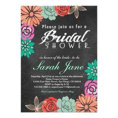 Floral Chalkboard Bridal Shower invitation