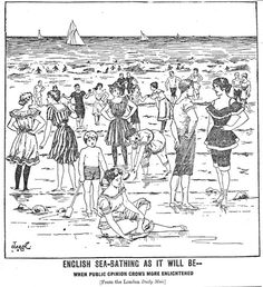Sketch of mixed bathing, published in The Blackpool News & London Daily Mail, 1896. Mixed bathing in most resorts was still opposed by many people.