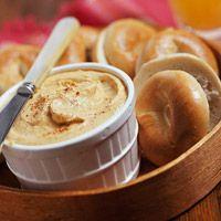 Pumpkin Cream Cheese Spread (canned pumpkin, cream cheese, vanilla, pumpkin pie spice, sugar) for fall mornings
