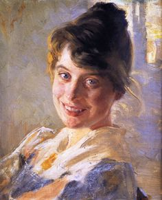 """Portrait of the Artist's Wife Marie"" by Peder Severin Kroyer, ca 1889"