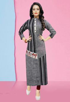Buy from the latest range of designer collection of kurti from the best online ethnic store. Order this cotton print work party wear kurti. Kurti Designs Party Wear, Kurta Designs, Blouse Designs, New Kurti, Latest Kurti, Girls Frock Design, Kurti Styles, Grey Fashion, Yellow Fashion