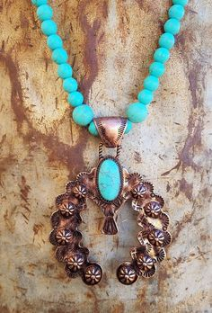 COWGIRL GYPSY COPPER SQUASH BLOSSOM Turquoise stone beads Western NECKLACE set #Unbranded